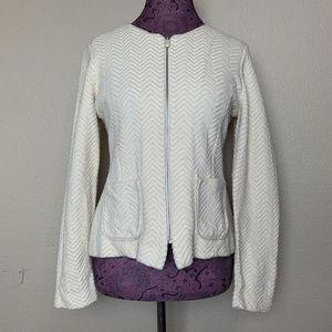 Rosie Neira Cream Chevron Texture Zip Up Jacket